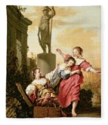 The Three Daughters Of Cecrops Discovering Erichthonius Fleece Blanket