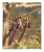 The Three Dragonflies  Fleece Blanket