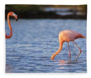 The Three Flamingos Fleece Blanket
