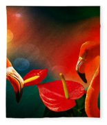 The Three Flamingos - Featured In 'feathers And Beaks' 'wildlife' And 'comfortable Art'  Groups Fleece Blanket