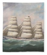 The Three-master Hahnemann In Full Sail Off A Headland Fleece Blanket