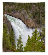 The Thundering Lower Yellowstone Falls Fleece Blanket