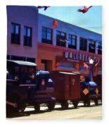 The Train In The Parade Fleece Blanket