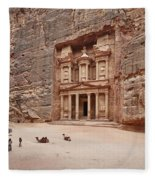 the treasury Nabataean ancient town Petra Fleece Blanket