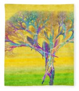 The Tree In Spring At Midday - Painterly - Abstract - Fractal Art Fleece Blanket