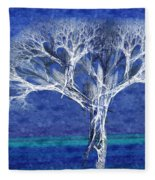 The Tree In Winter At Dusk - Painterly - Abstract - Fractal Art Fleece Blanket