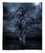 The Tree Of Sawols Cyanotype Fleece Blanket