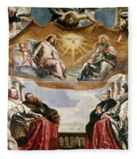 The Trinity Adored By The Duke Of Mantua And His Family Fleece Blanket