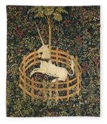 The Unicorn In Captivity Fleece Blanket