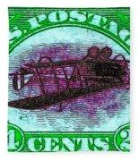 The Upside Down Biplane Stamp - 20130119 - V4 Fleece Blanket