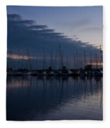 The Urge To Sail Away - Violet Sky Reflecting In Lake Ontario In Toronto Canada Fleece Blanket