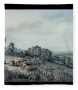 The Valley Of The Stour, Looking Towards East Bergholt, 1880 Pencil, Pen And Ink And Watercolour Fleece Blanket