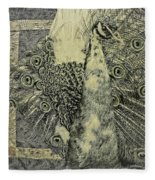 The Vintage Peacock Fleece Blanket