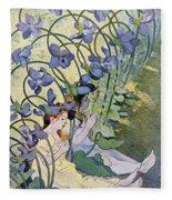 The Violets Lively Flowers Fleece Blanket