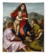 The Virgin And Child Between Saint Matthew And An Angel Fleece Blanket
