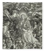The Virgin And Child Surrounded By Angels Fleece Blanket