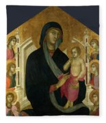 The Virgin And Child With Six Angels Fleece Blanket