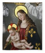 The Virgin And The Child With The Parrot Fleece Blanket