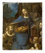 The Virgin Of The Rocks Fleece Blanket