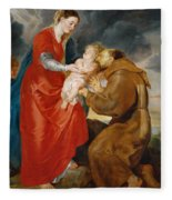 The Virgin Presents The Infant Jesus To Saint Francis Fleece Blanket