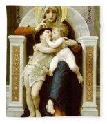 The Virgin The Baby Jesus And Saint John The Baptist Fleece Blanket