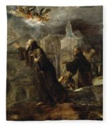 The Vision Of St Francis Of Paola Fleece Blanket