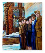 The War Years 1942 Montreal St Mathieu And De Maisonneuve Street Scene Canadian Art Carole Spandau Fleece Blanket