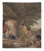 The Warrener, Engraved By William Ward 1766-1826, Pub. By H. Morland, 1806 Mezzotint Engraving Fleece Blanket