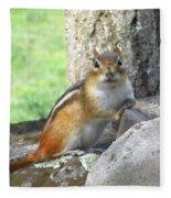 The Watching Chipmunk Reclines Fleece Blanket