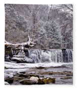 The Waterfall Near Valley Green In The Snow Fleece Blanket