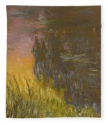 The Waterlilies At Setting Sun Fleece Blanket
