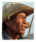 The Weathered Face Of An Ox Cart Driver Fleece Blanket