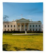The White House In Washington Dc With Beautiful Blue Sky Fleece Blanket