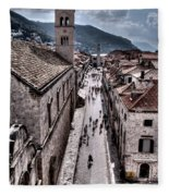 The White Tower In The Stradun From The Ramparts Fleece Blanket