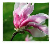 The Windblown Pink Magnolia 1 - Flora - Tree - Spring - Garden Fleece Blanket