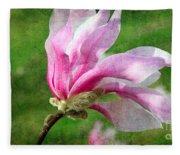 The Windblown Pink Magnolia - Flora - Tree - Spring - Garden Fleece Blanket