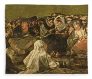 The Witches Sabbath Or The Great He-goat, One Of The Black Paintings, C.1821-23 Oil On Canvas Fleece Blanket