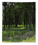 The Woods And The Road From The Series The Imprint Of Man In Nature Fleece Blanket