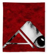 The Word Is Cat Bw On Red Fleece Blanket