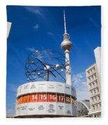 The Worldtime Clock Alexanderplatz Berlin Germany Fleece Blanket