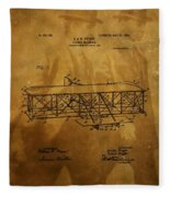 The Wright Brothers Airplane Patent Fleece Blanket