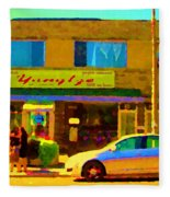 The Yangtze Chinese Food Restaurant On Van Horne Montreal Memories Cafe Street Scene Carole Spandau  Fleece Blanket