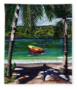 The Yellow And Red Boat Fleece Blanket