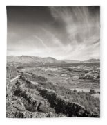 Thingvellir Iceland Black And White Fleece Blanket