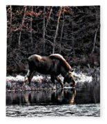 Thirsty Moose Impressionistic Digital Painting Fleece Blanket