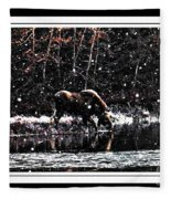 Thirsty Moose Impressionistic Painting With Borders Fleece Blanket