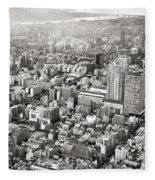 This Is Tokyo In Black And White Fleece Blanket