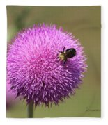 Thistle And A Bee Fleece Blanket