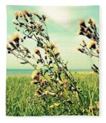Thistle On The Beach  Fleece Blanket