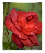 Thorny Red Rose Fleece Blanket
